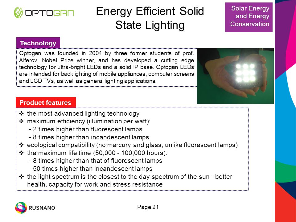 Energy Efficient Solid State Lighting Technology Optogan was founded in 2004 by three former students of prof.