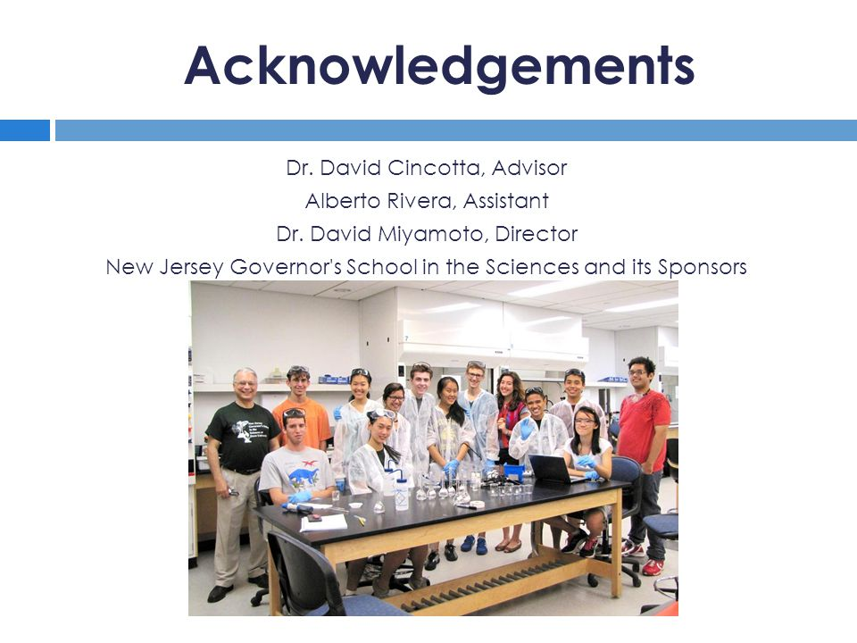 Acknowledgements Dr. David Cincotta, Advisor Alberto Rivera, Assistant Dr.