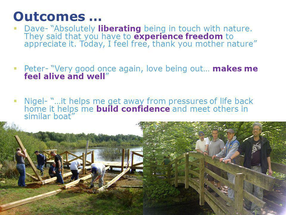 Outcomes … Dave- Absolutely liberating being in touch with nature.