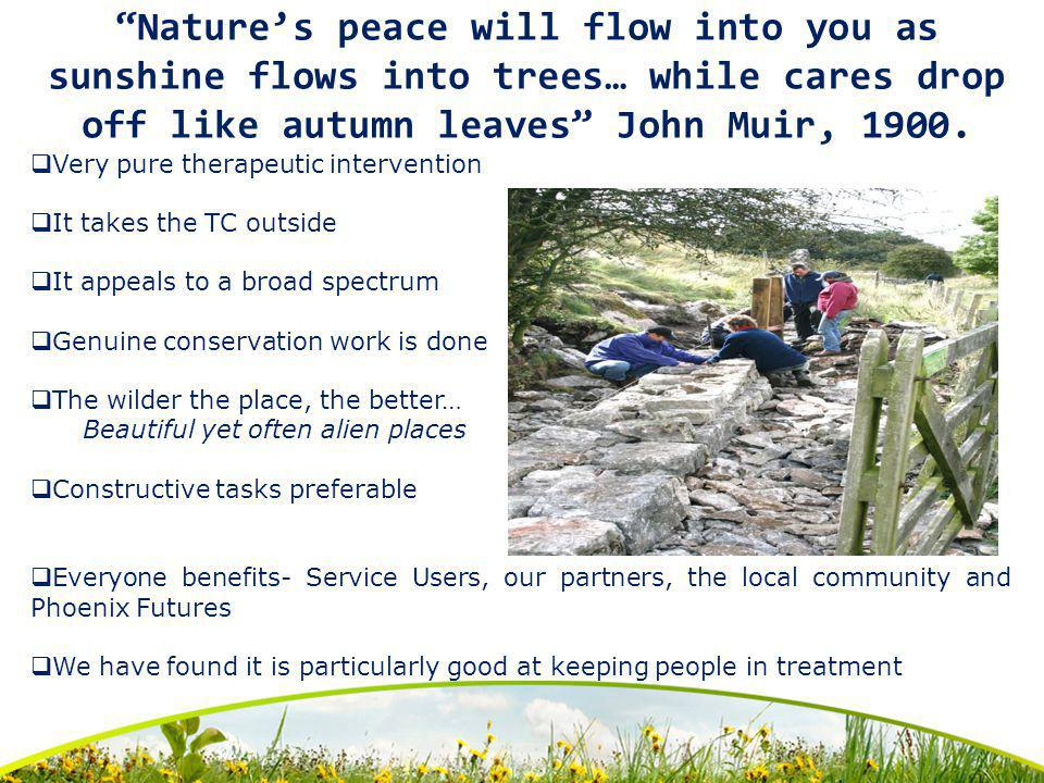 Natures peace will flow into you as sunshine flows into trees… while cares drop off like autumn leaves John Muir, 1900.