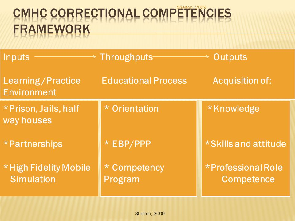 Inputs Throughputs Outputs Learning /Practice Educational Process Acquisition of: Environment Shelton, 2009 *Prison, Jails, half way houses *Partnerships *High Fidelity Mobile Simulation * Orientation * EBP/PPP * Competency Program *Knowledge *Skills and attitude *Professional Role Competence