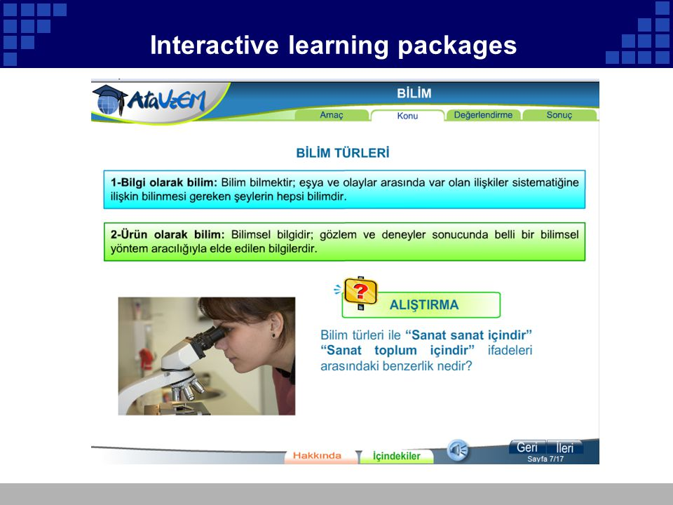 Interactive learning packages