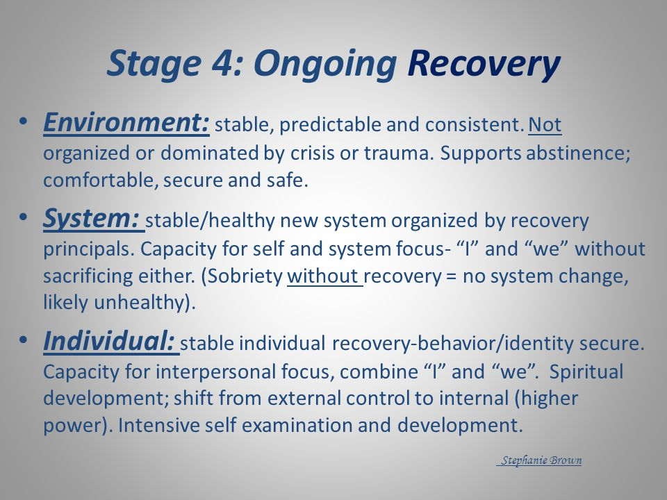 Early Recovery Support assist in exploring long term solutions/strategies over short term fixes Communication/Boundaries workshops* Help explore realities of drinking/transition stage (system, environment, thought, attitudes and behaviors)* Explore realities of new recovering identity* Reinforce use of recovery language/principals Challenge attitudes/defenses/behaviors that threaten relapse Brown/Lewis FIN
