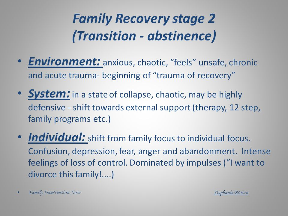 Tasks/Support: Drinking Stage 1 Family Member(s) Break denial Supporting professional Support therapeutic alliance Support challenge of denial by acknowledging realities of addiction.