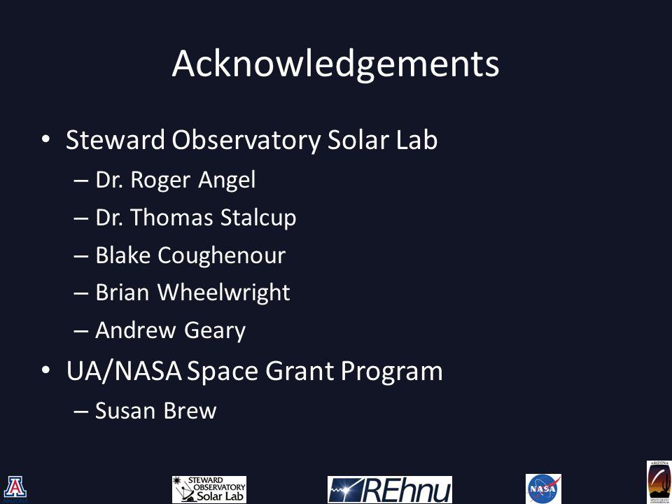Acknowledgements Steward Observatory Solar Lab – Dr.
