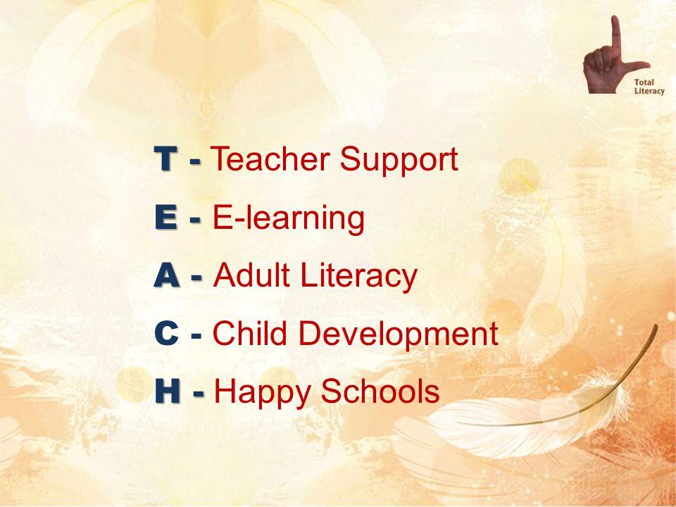 T - T - Teacher Support E - E - E-learning A - A - Adult Literacy C - Child Development H - H - Happy Schools