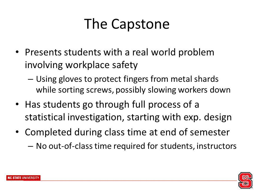 The Capstone Presents students with a real world problem involving workplace safety – Using gloves to protect fingers from metal shards while sorting