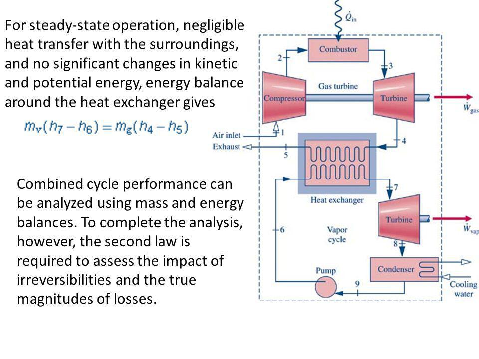 For steady-state operation, negligible heat transfer with the surroundings, and no significant changes in kinetic and potential energy, energy balance