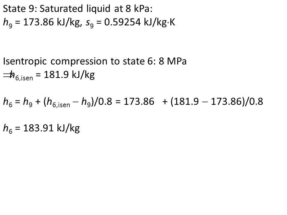 State 9: Saturated liquid at 8 kPa: h 9 = 173.86 kJ/kg, s 9 = 0.59254 kJ/kg K Isentropic compression to state 6: 8 MPa h 6,isen = 181.9 kJ/kg h 6 = h