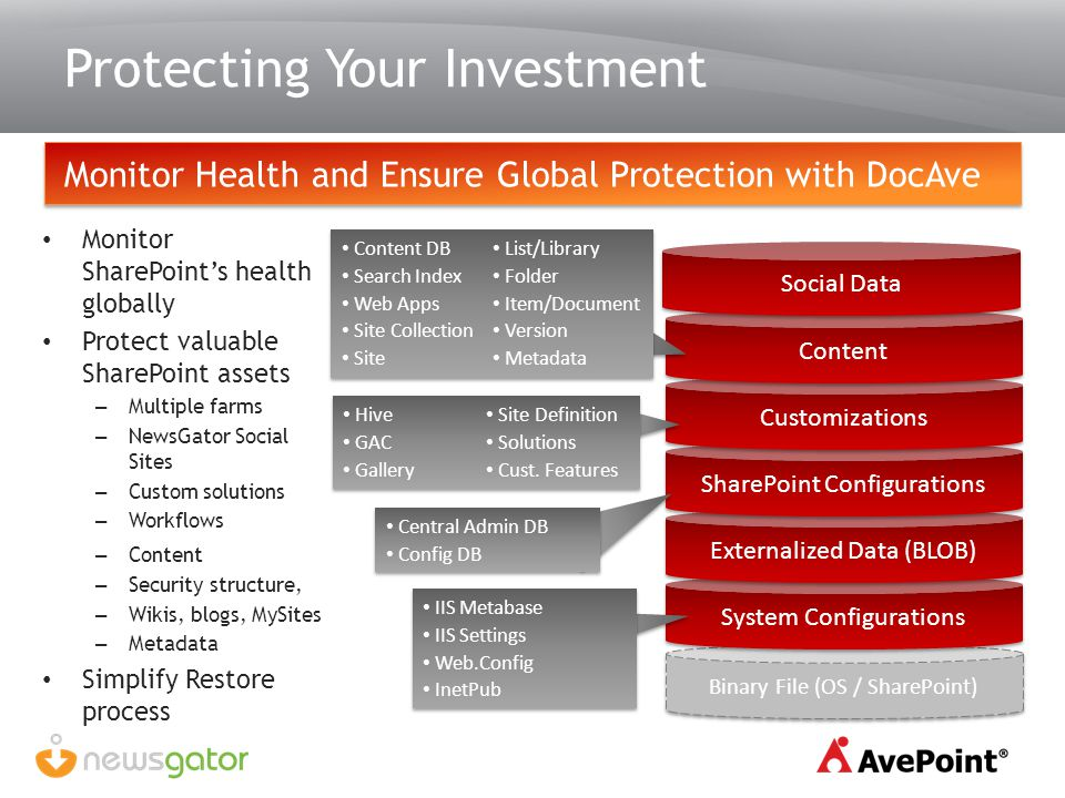 Protecting Your Investment Monitor Health and Ensure Global Protection with DocAve Monitor SharePoints health globally Protect valuable SharePoint ass
