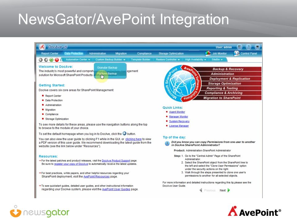 NewsGator/AvePoint Integration