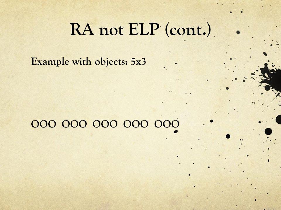 RA not ELP (cont.) Example with objects: 5x3 OOO OOO OOO OOO OOO