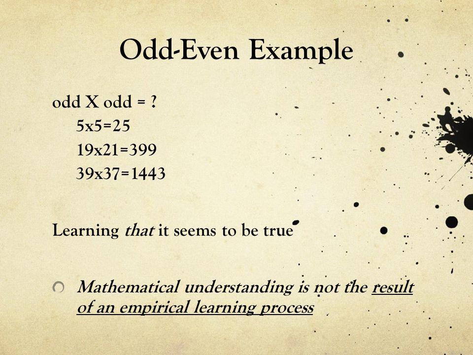 Odd-Even Example odd X odd = .