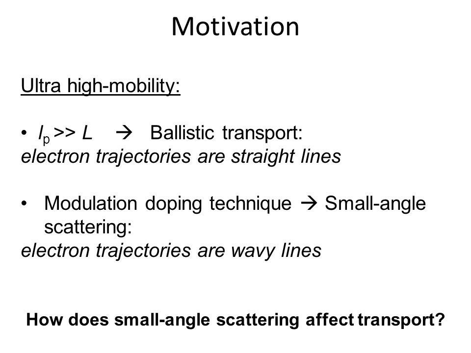 Motivation Ultra high-mobility: l p >> L Ballistic transport: electron trajectories are straight lines Modulation doping technique Small-angle scatter