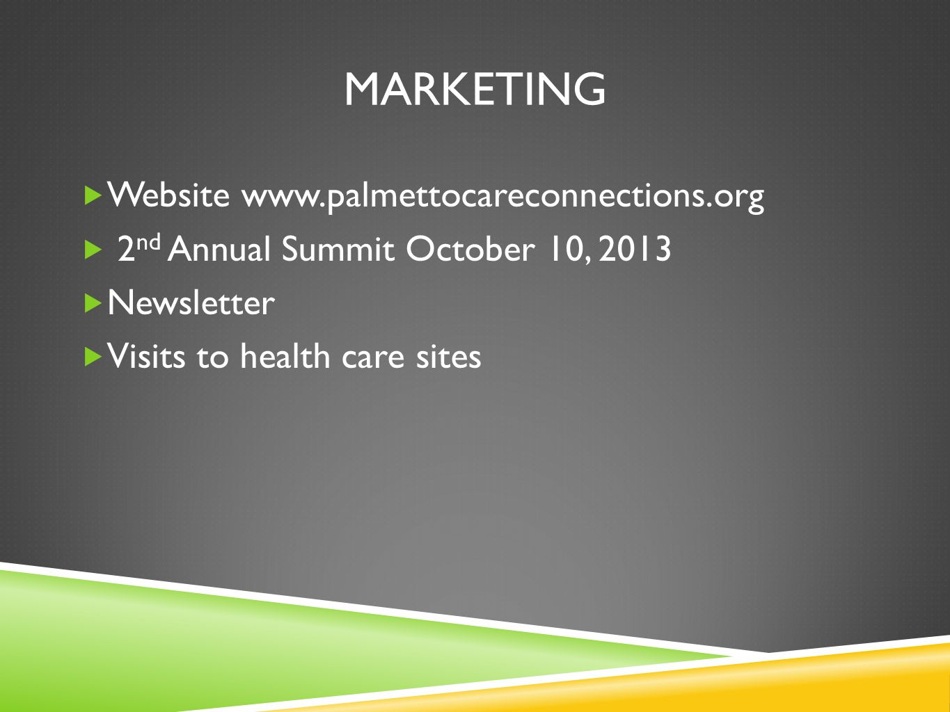 MARKETING Website www.palmettocareconnections.org 2 nd Annual Summit October 10, 2013 Newsletter Visits to health care sites