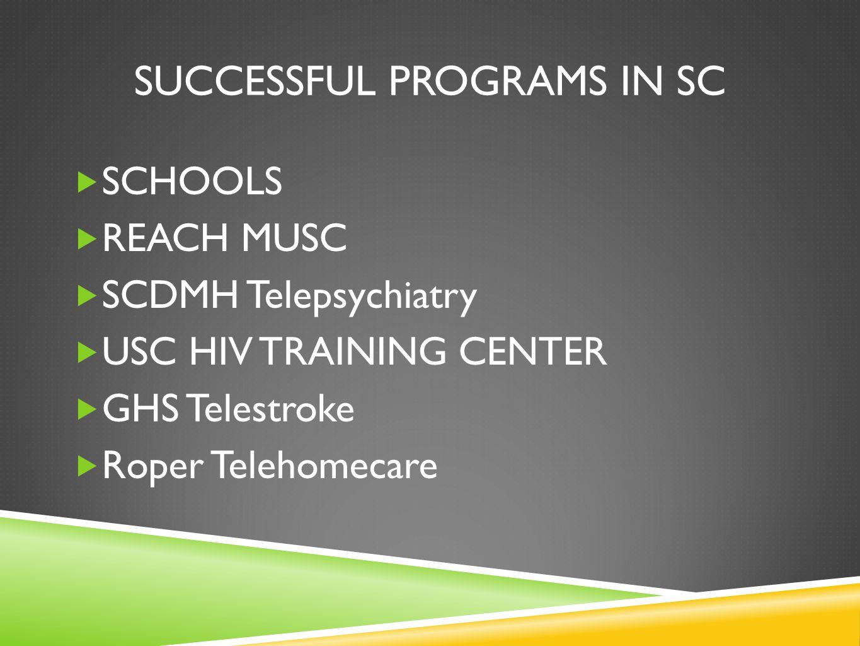 SUCCESSFUL PROGRAMS IN SC SCHOOLS REACH MUSC SCDMH Telepsychiatry USC HIV TRAINING CENTER GHS Telestroke Roper Telehomecare