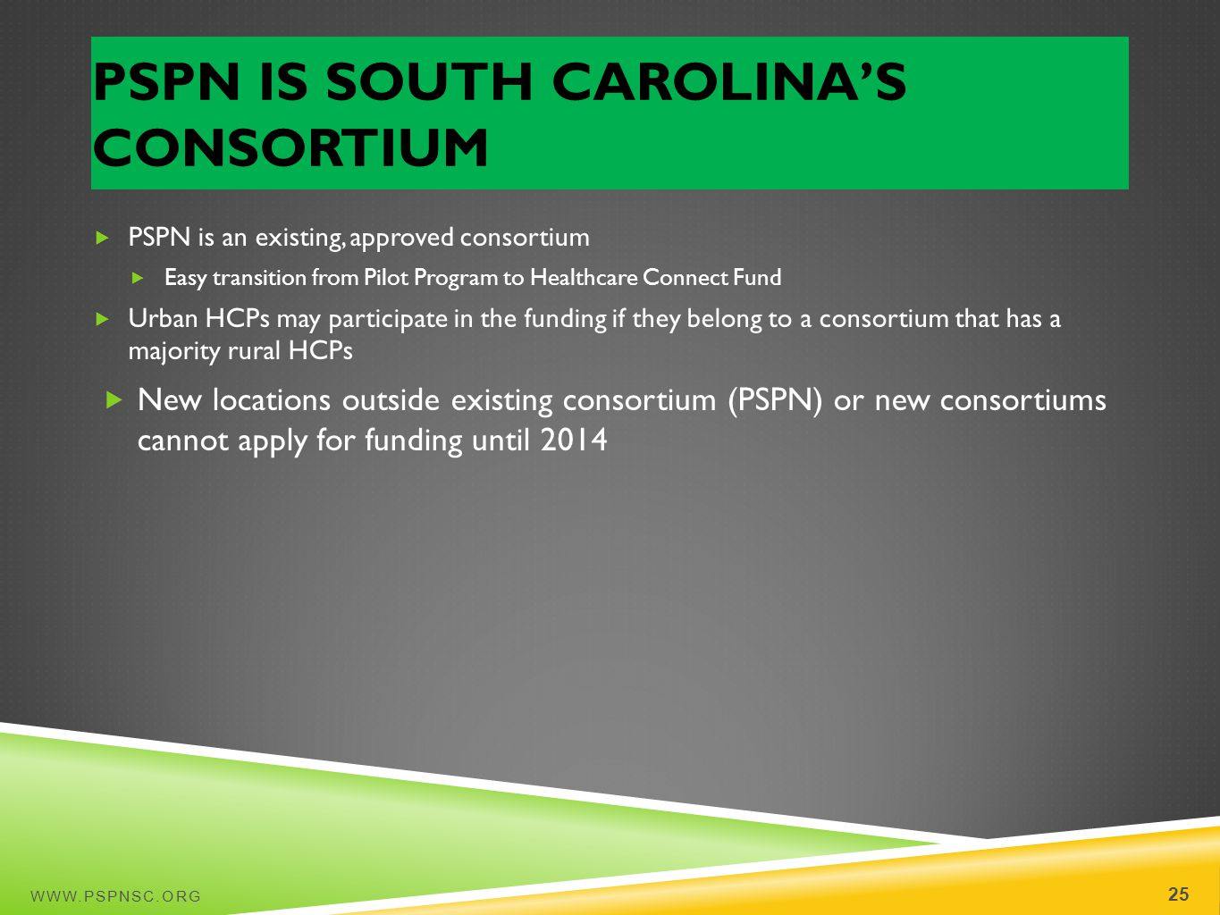 PSPN IS SOUTH CAROLINAS CONSORTIUM WWW.PSPNSC.ORG 25 PSPN is an existing, approved consortium Easy transition from Pilot Program to Healthcare Connect