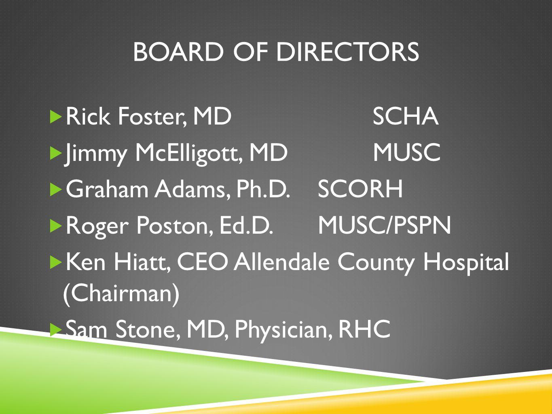 BOARD OF DIRECTORS Rick Foster, MDSCHA Jimmy McElligott, MDMUSC Graham Adams, Ph.D.SCORH Roger Poston, Ed.D.MUSC/PSPN Ken Hiatt, CEO Allendale County