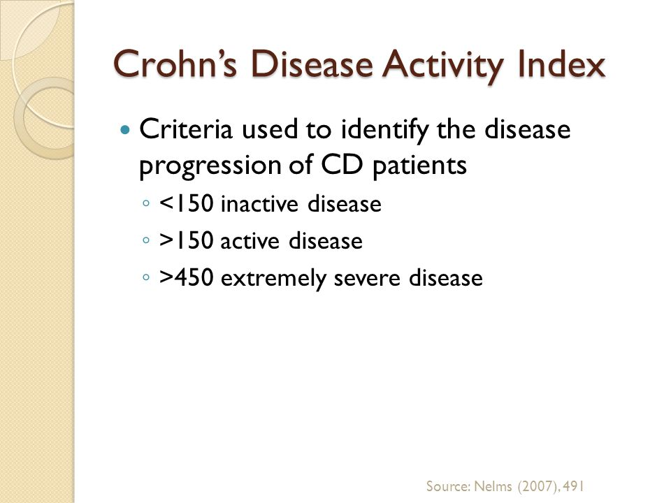 Crohns Disease Activity Index Criteria used to identify the disease progression of CD patients <150 inactive disease >150 active disease >450 extremel