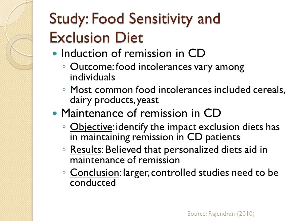 Study: Food Sensitivity and Exclusion Diet Induction of remission in CD Outcome: food intolerances vary among individuals Most common food intolerance