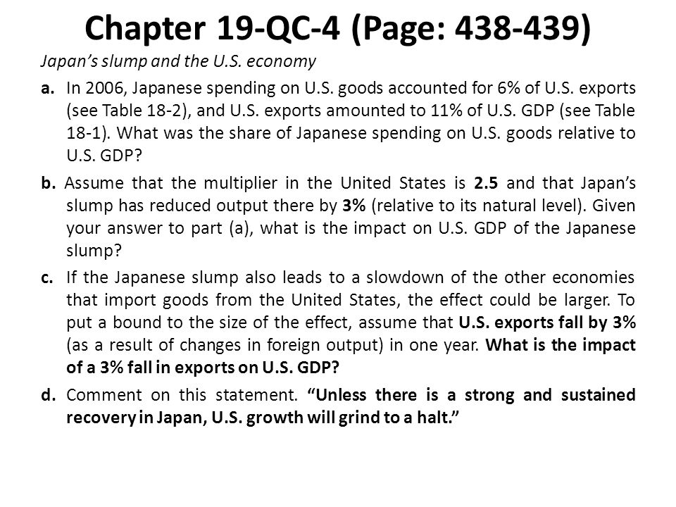 Chapter 19-QC-4 (Page: 438-439) Japans slump and the U.S. economy a. In 2006, Japanese spending on U.S. goods accounted for 6% of U.S. exports (see Ta