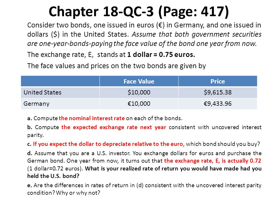 Chapter 18-QC-3 (Page: 417) ANSWERS: a.The nominal return on the U.S.