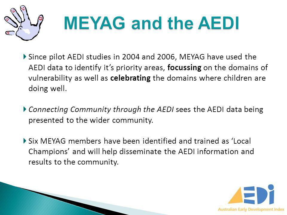 Connecting Community through the AEDI will support agencies, schools and parents to understand the concepts of; Early brain development Ecological model of child development and; AEDI For parents and carers: It will help to facilitate the conversation around healthy early childhood development.
