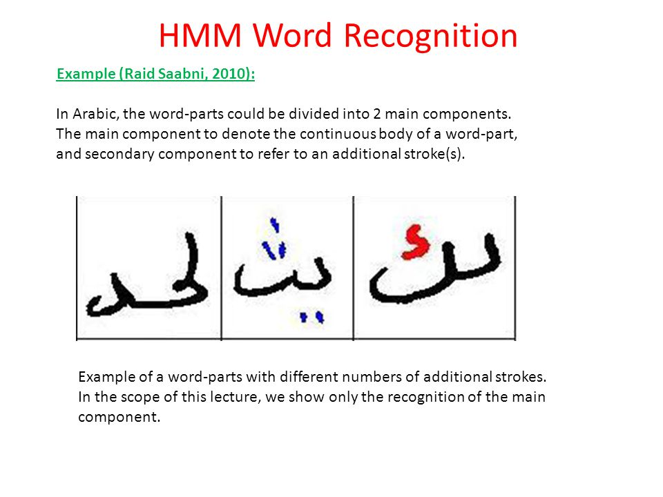 HMM Word Recognition Example (Raid Saabni, 2010): In Arabic, the word-parts could be divided into 2 main components. The main component to denote the