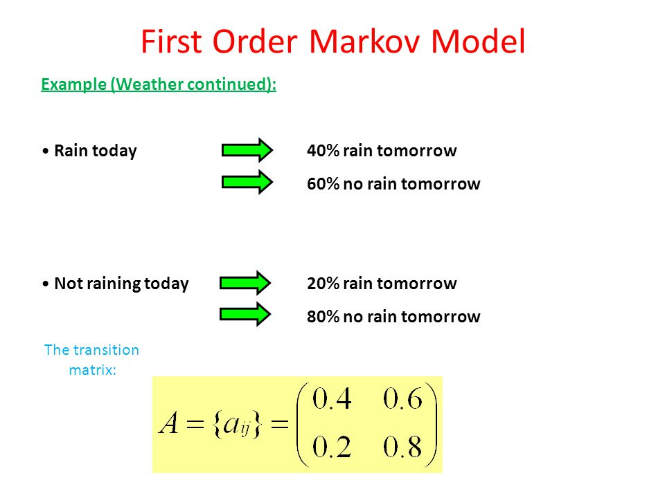 First Order Markov Model Example (Weather continued): Question: Given that day 1 is sunny, what is the probability that the weather for the next 3 days will be sun-rain-rain-sun .