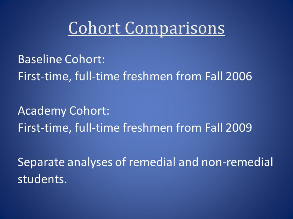 Cohort Comparisons Baseline Cohort: First-time, full-time freshmen from Fall 2006 Academy Cohort: First-time, full-time freshmen from Fall 2009 Separa