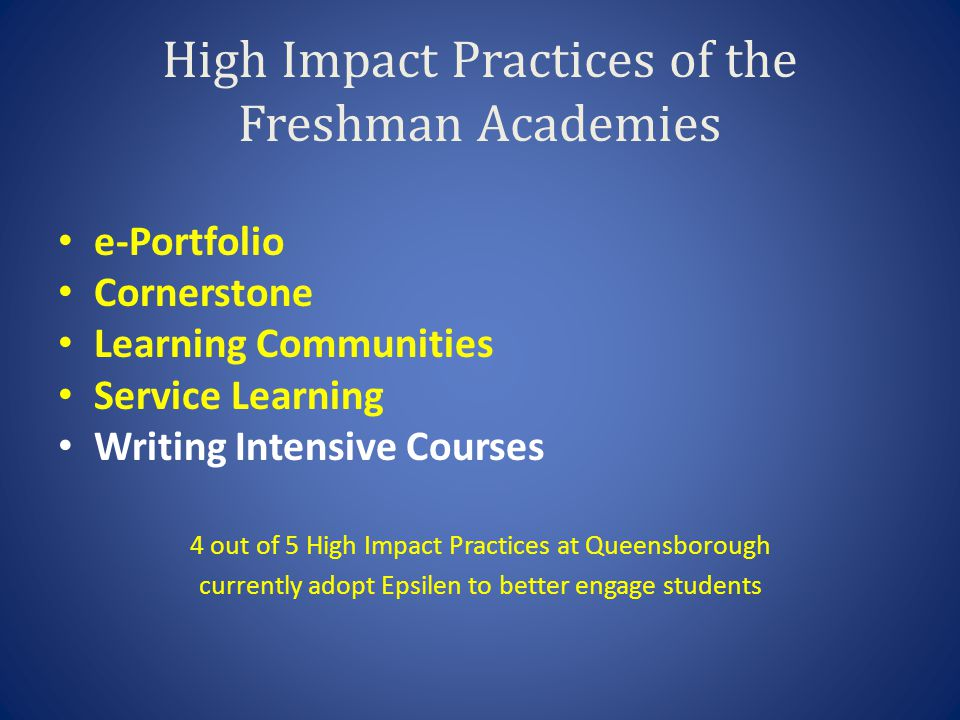 High Impact Practices of the Freshman Academies e-Portfolio Cornerstone Learning Communities Service Learning Writing Intensive Courses 4 out of 5 Hig