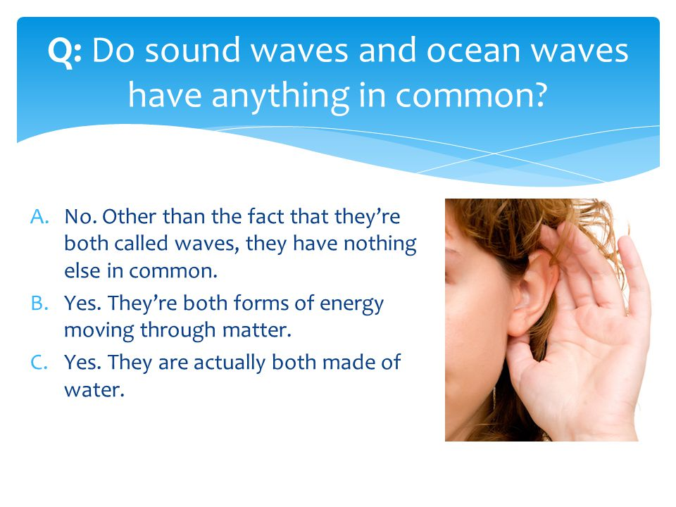 A.No. Other than the fact that theyre both called waves, they have nothing else in common. B.Yes. Theyre both forms of energy moving through matter. C