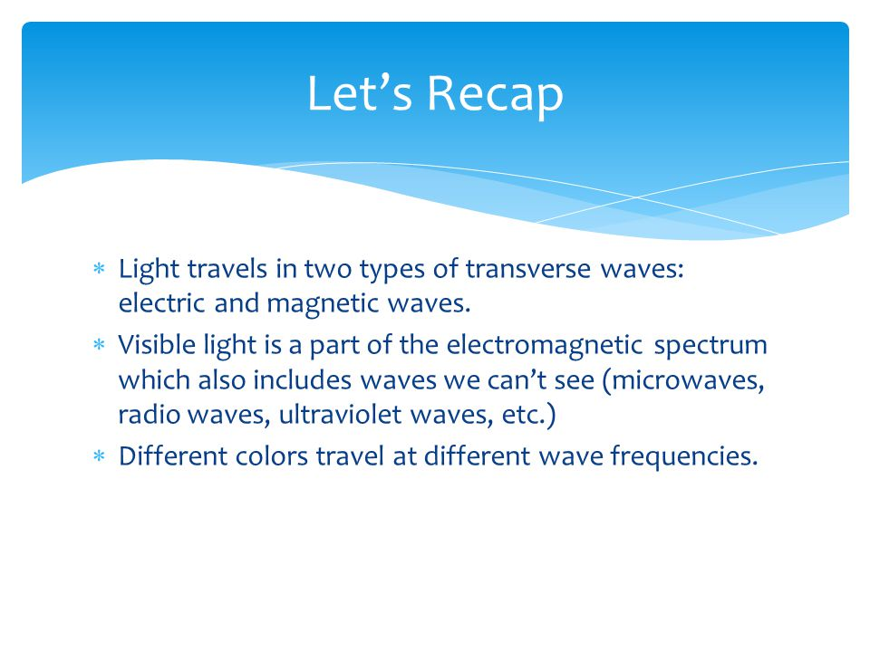 Light travels in two types of transverse waves: electric and magnetic waves. Visible light is a part of the electromagnetic spectrum which also includ