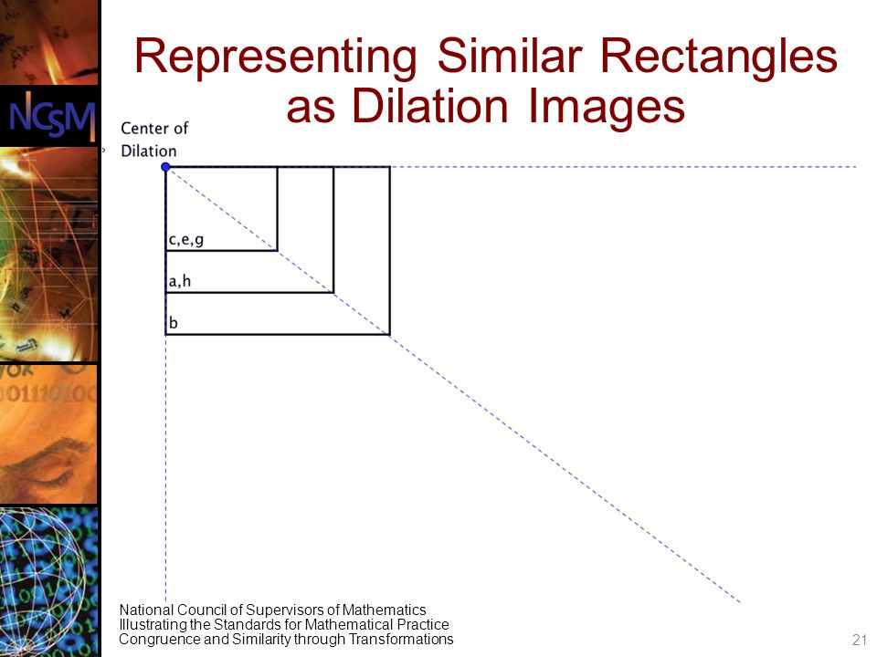 National Council of Supervisors of Mathematics Illustrating the Standards for Mathematical Practice Congruence and Similarity through Transformations Representing Similar Rectangles as Dilation Images 21