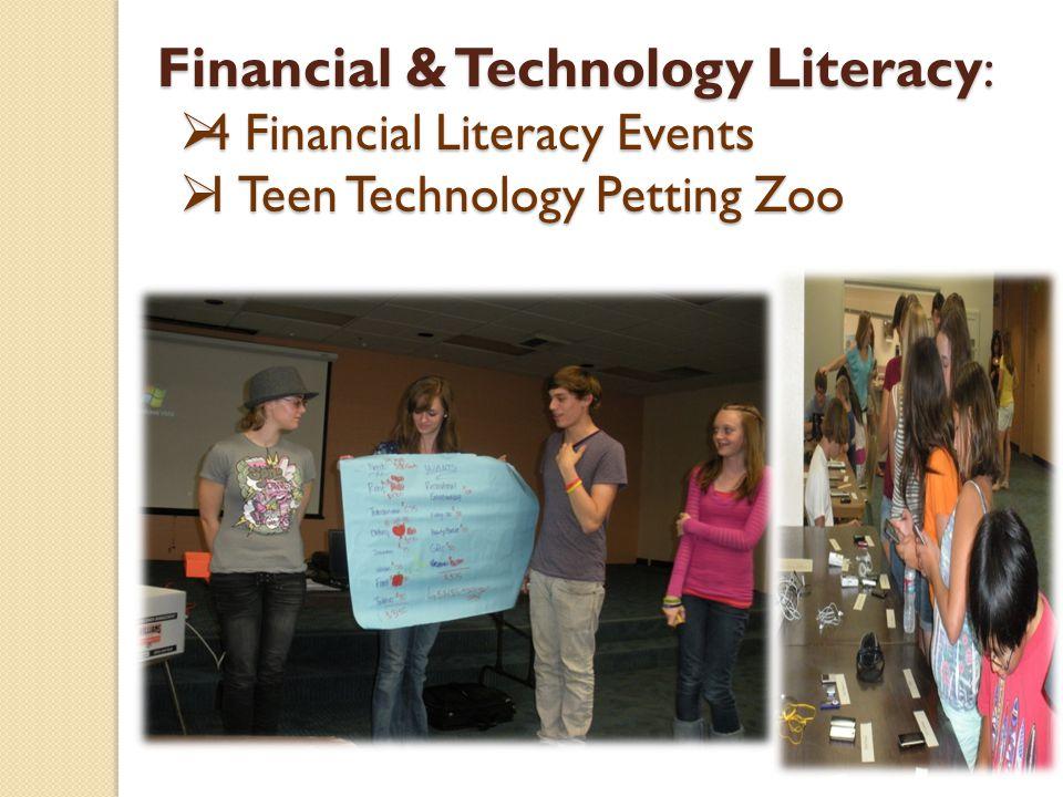 Financial & Technology Literacy : 4 Financial Literacy Events 4 Financial Literacy Events 1 Teen Technology Petting Zoo 1 Teen Technology Petting Zoo