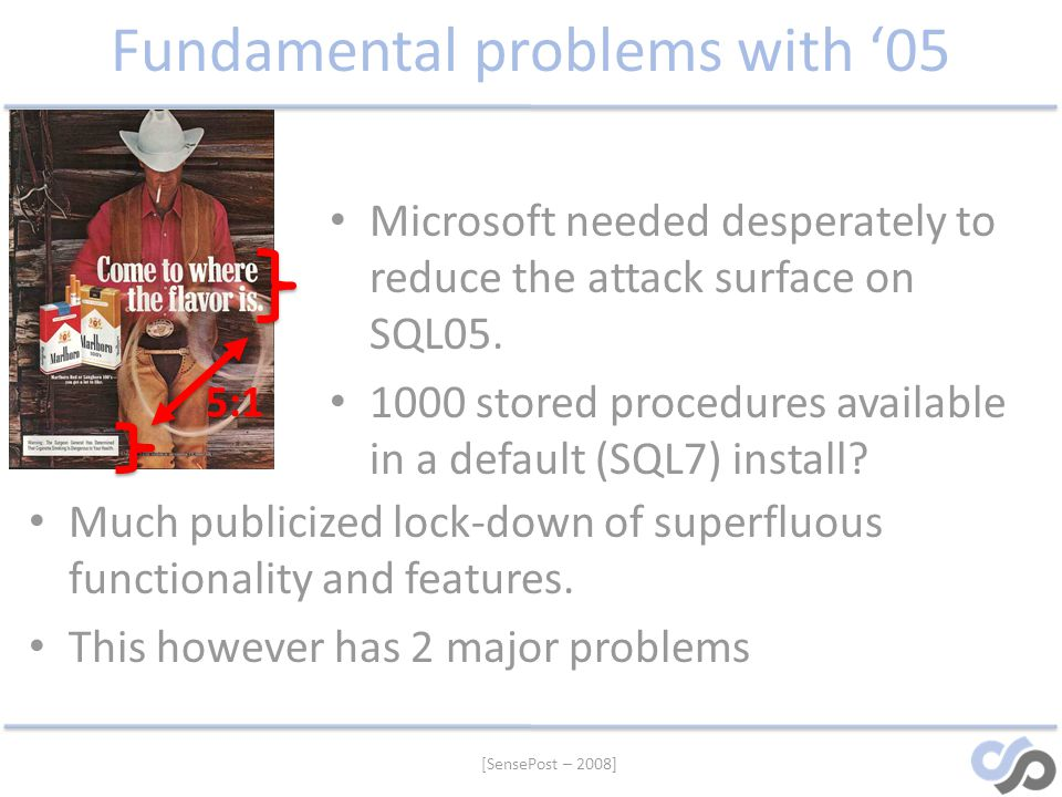 [SensePost – 2008] Fundamental problems with 05 Microsoft needed desperately to reduce the attack surface on SQL05. 1000 stored procedures available i
