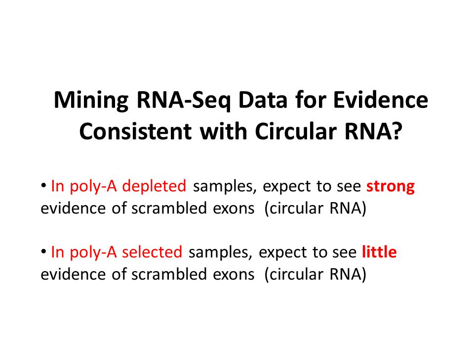 Mining RNA-Seq Data for Evidence Consistent with Circular RNA? In poly-A depleted samples, expect to see strong evidence of scrambled exons (circular