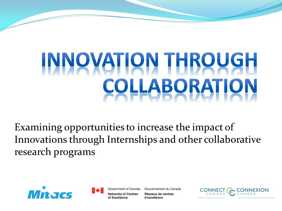 Delivery Models Variances Connect Canada $10,000 stipend $5,000 Industry Partner $5,000 Connect Canada Database to facilitate new collaborations Continuous support throughout the process Vetted by a panel of Industry and Academic experts IP Protection