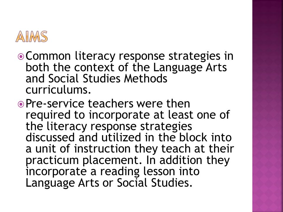 Common literacy response strategies in both the context of the Language Arts and Social Studies Methods curriculums. Pre-service teachers were then re