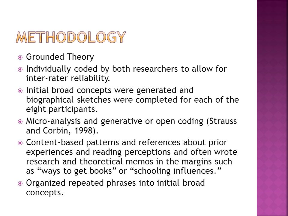 Grounded Theory Individually coded by both researchers to allow for inter-rater reliability. Initial broad concepts were generated and biographical sk