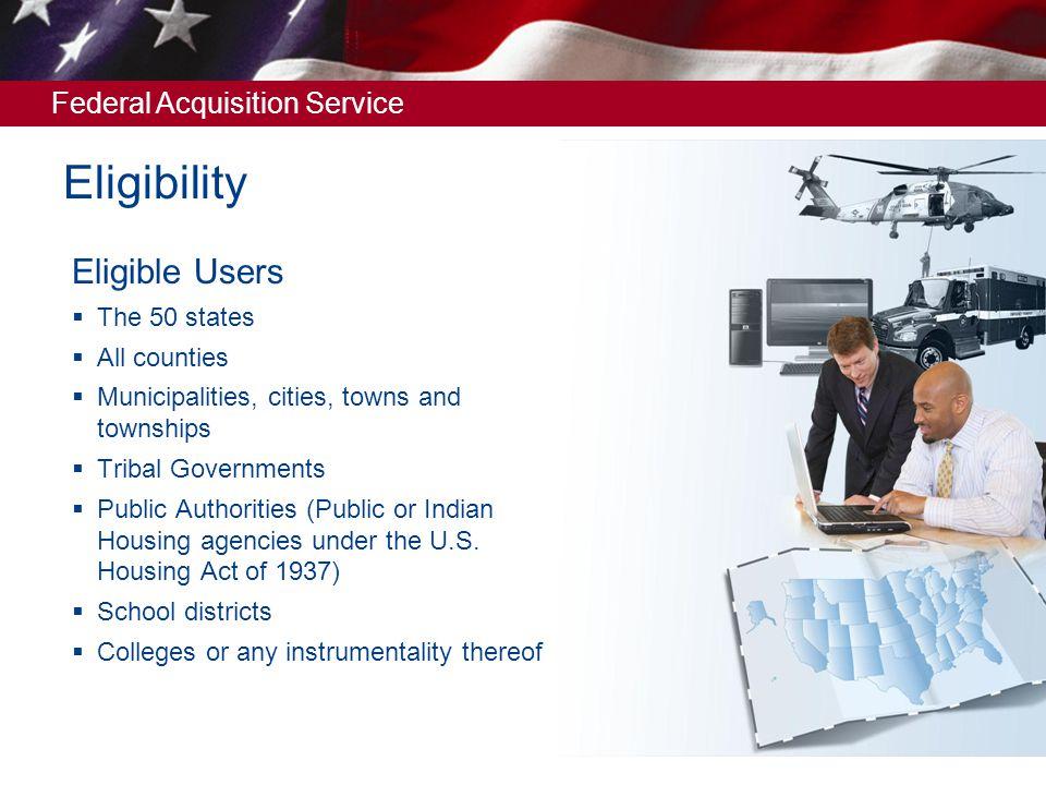 Federal Acquisition Service Current S&L registration for GSA Advantage.
