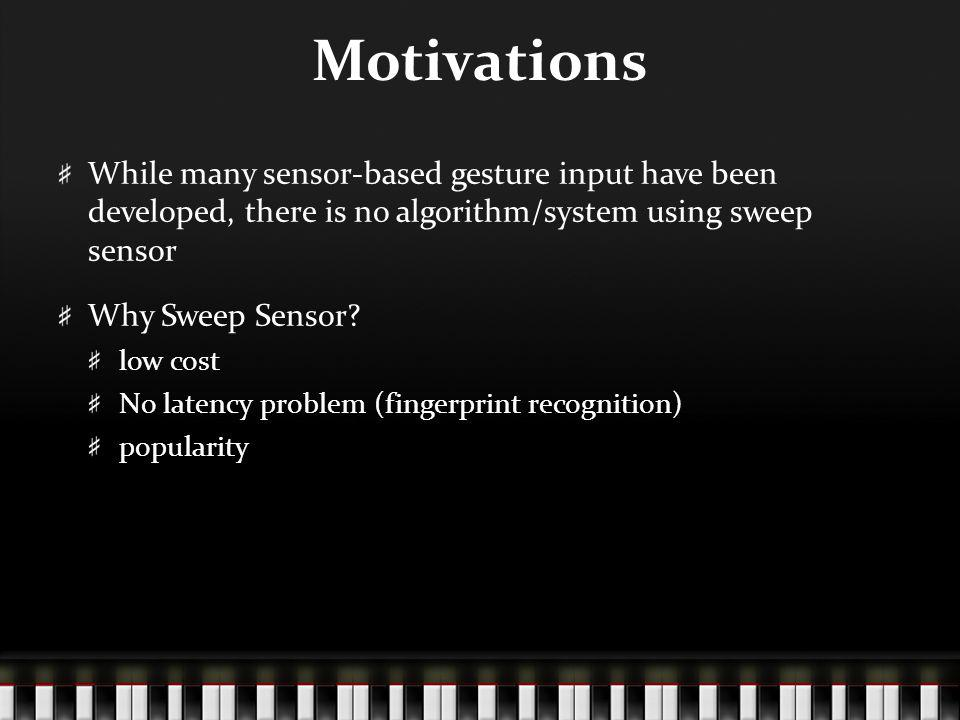 Motivations While many sensor-based gesture input have been developed, there is no algorithm/system using sweep sensor Why Sweep Sensor.