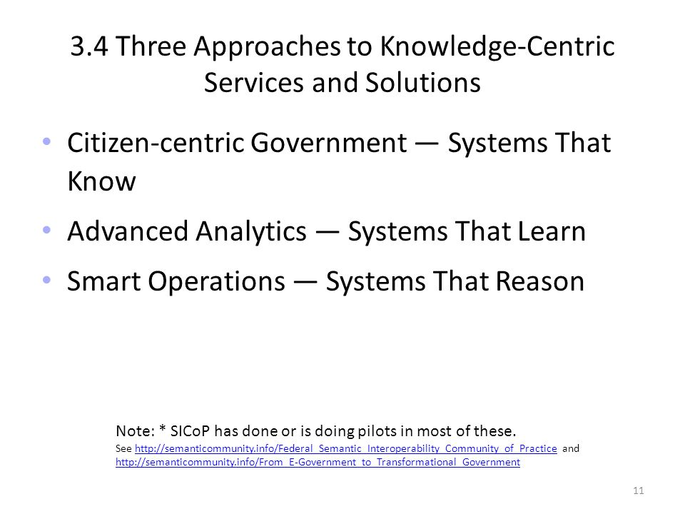 3.4 Three Approaches to Knowledge-Centric Services and Solutions Citizen-centric Government Systems That Know Advanced Analytics Systems That Learn Smart Operations Systems That Reason Note: * SICoP has done or is doing pilots in most of these.