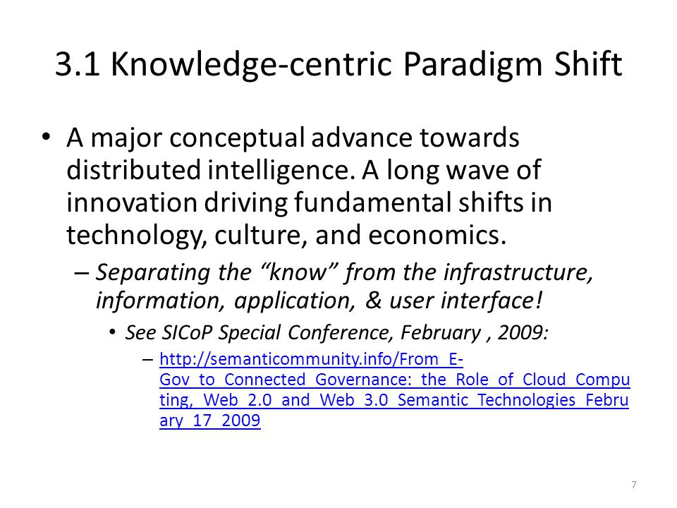 3.1 Knowledge-centric Paradigm Shift A major conceptual advance towards distributed intelligence. A long wave of innovation driving fundamental shifts