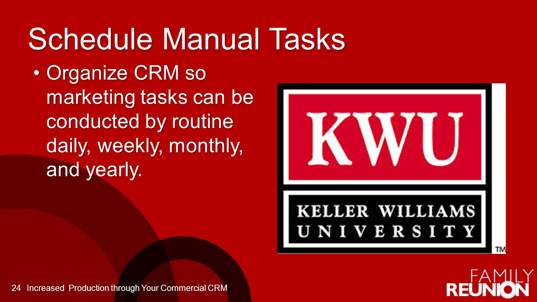 Schedule Manual Tasks Organize CRM so marketing tasks can be conducted by routine daily, weekly, monthly, and yearly.Organize CRM so marketing tasks can be conducted by routine daily, weekly, monthly, and yearly.