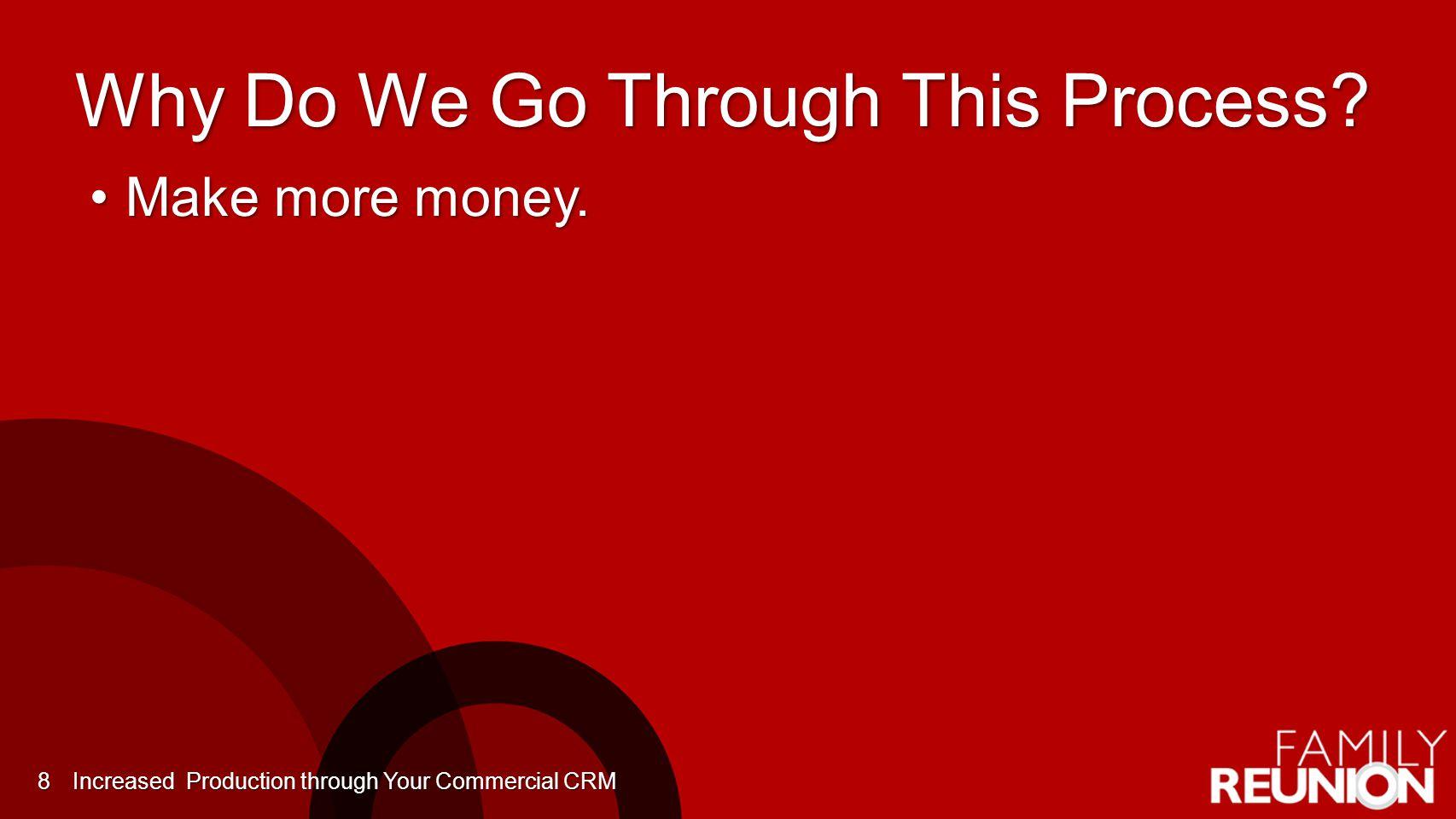 Why Do We Go Through This Process. Make more money.Make more money.