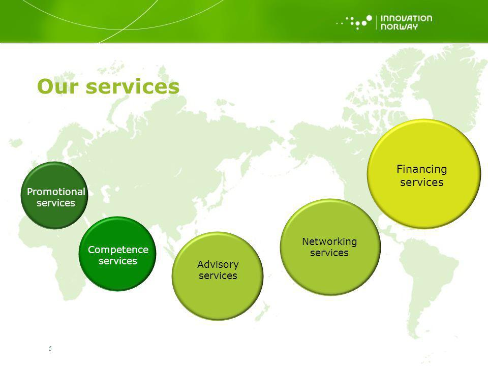 5 Our services Promotional services Competence services Advisory services Networking services Financing services