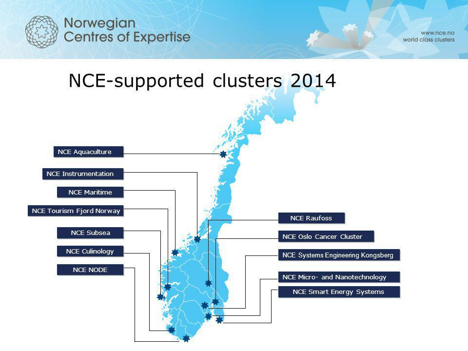 NCE Smart Energy Systems NCE Micro- and Nanotechnology NCE Systems Engineering Kongsberg NCE Oslo Cancer Cluster NCE Raufoss NCE NODE NCE Culinology N