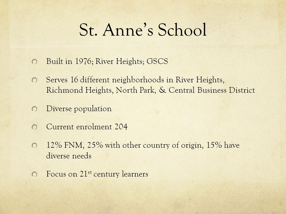 St. Annes School Built in 1976; River Heights; GSCS Serves 16 different neighborhoods in River Heights, Richmond Heights, North Park, & Central Busine