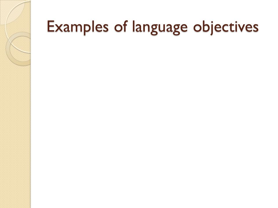 Examples of language objectives